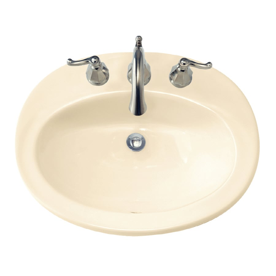 standard bone drop in oval bathroom sink with overflow at