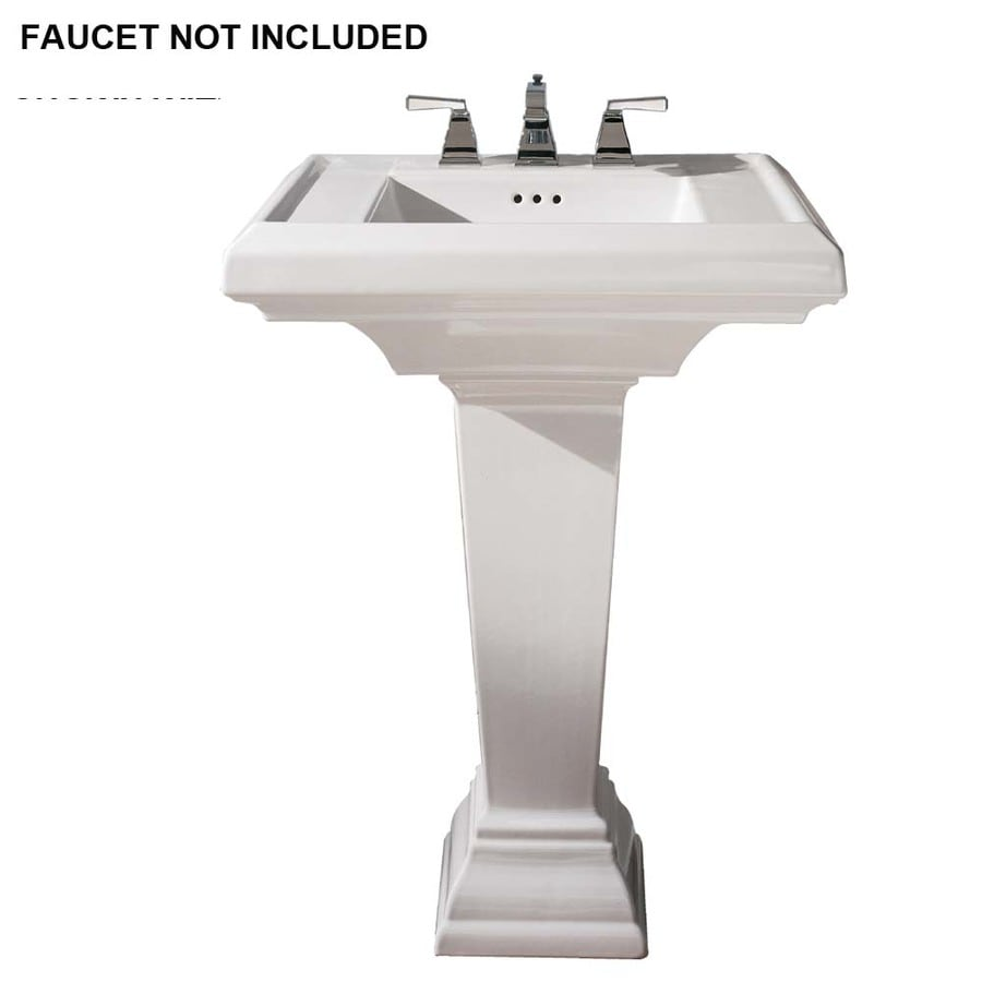 American Standard Town Square 36 In H White Fire Clay Pedestal Sink