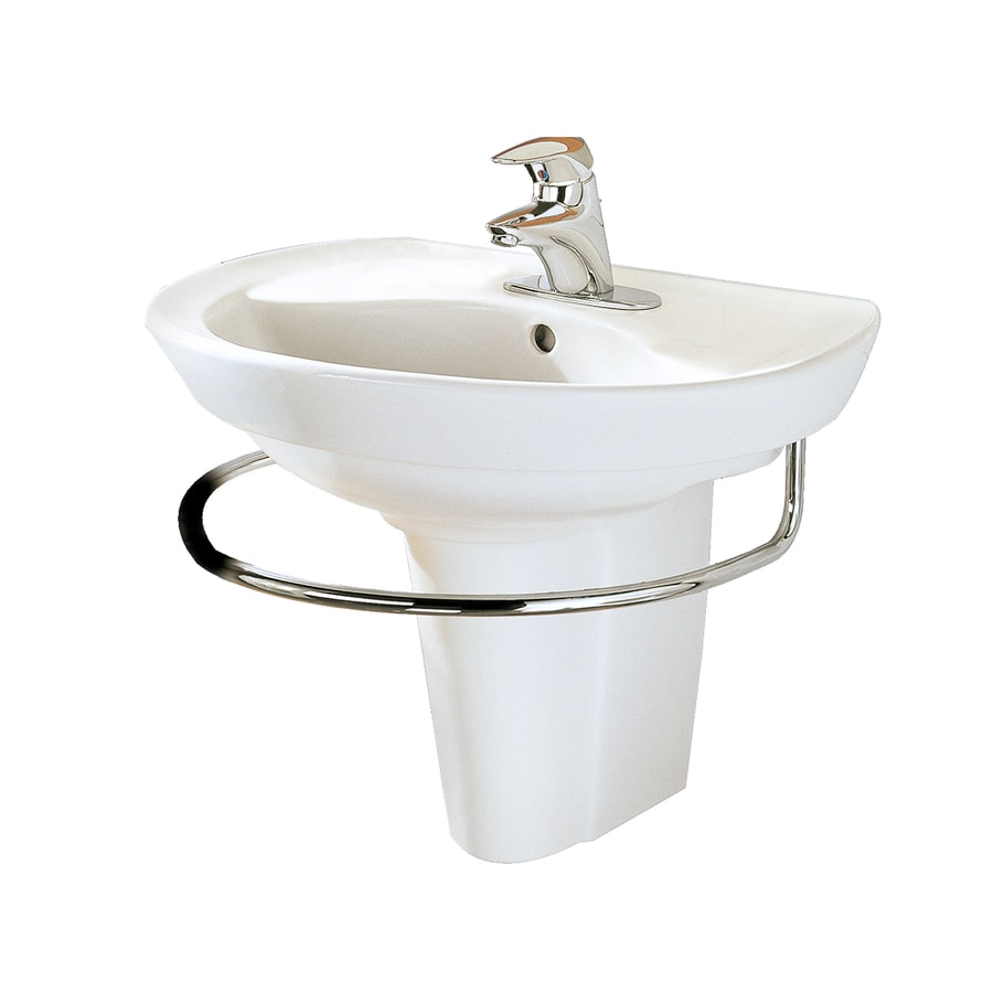 shop american standard white wall mount rectangular bathroom sink with overflow at