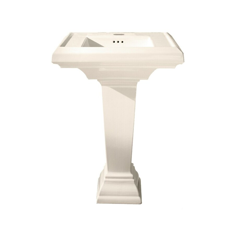 American Standard Town Square 35.5-in H Linen Fire Clay Pedestal Sink