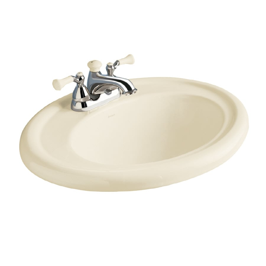 American Standard Standard Linen Fire Clay Drop-In Oval Bathroom Sink with Overflow