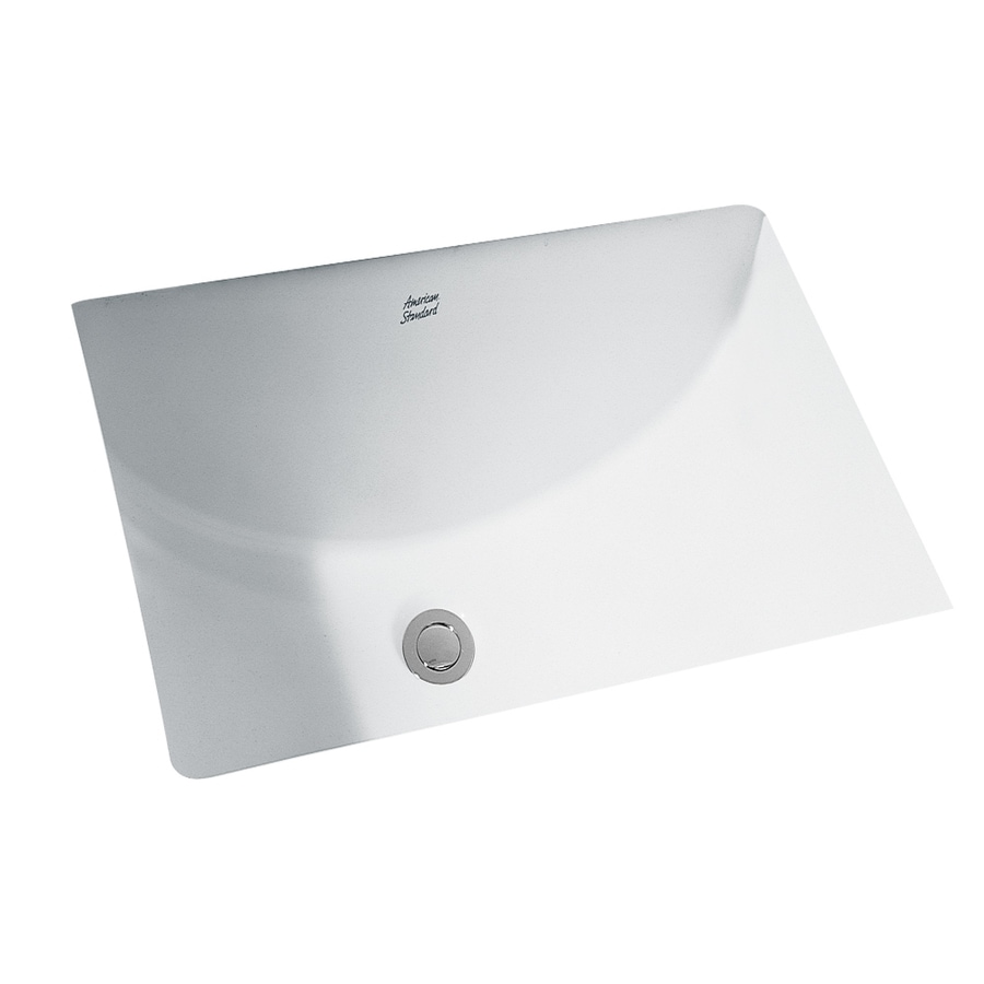 Shop american standard studio white undermount rectangular bathroom sink with overflow at for White rectangular undermount bathroom sink