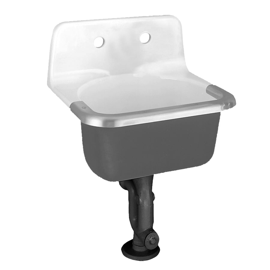 American Standard White Cast Iron Wall-Mount Rectangular Bathroom Sink with Overflow