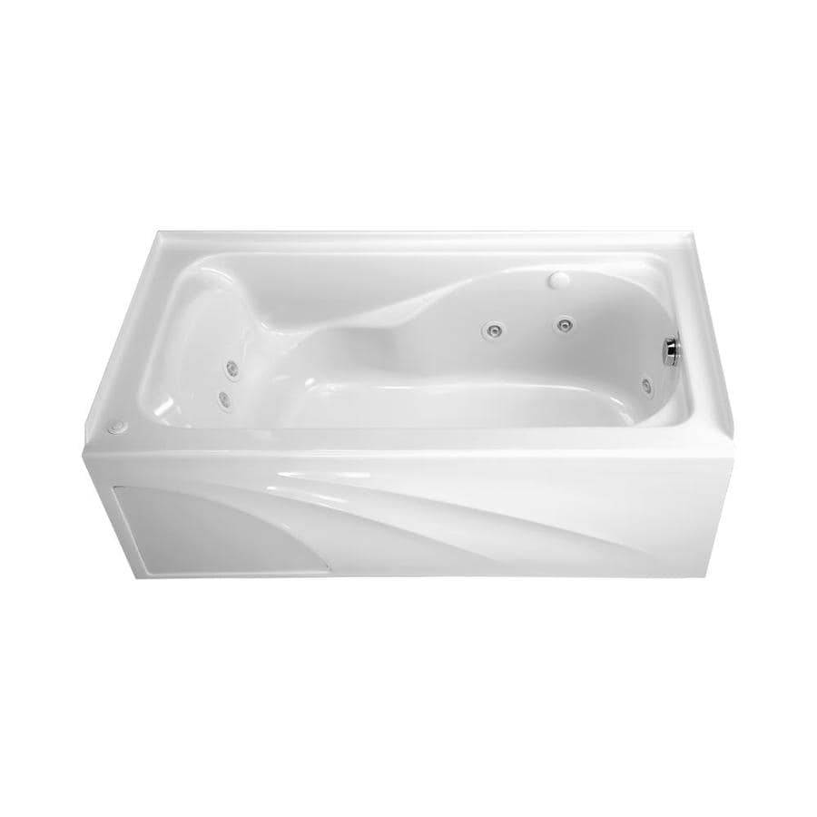 American Standard Cadet 59.88-in White Acrylic Alcove Whirlpool Tub with Reversible Drain