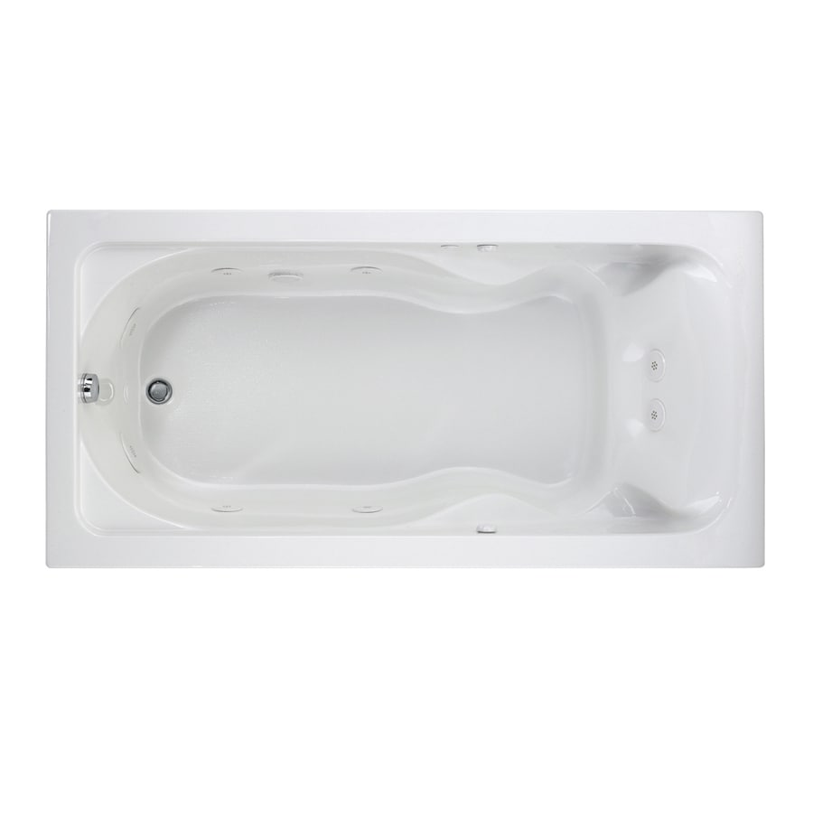 American Standard Cadet 72-in White Acrylic Drop-In Whirlpool Tub with Reversible Drain