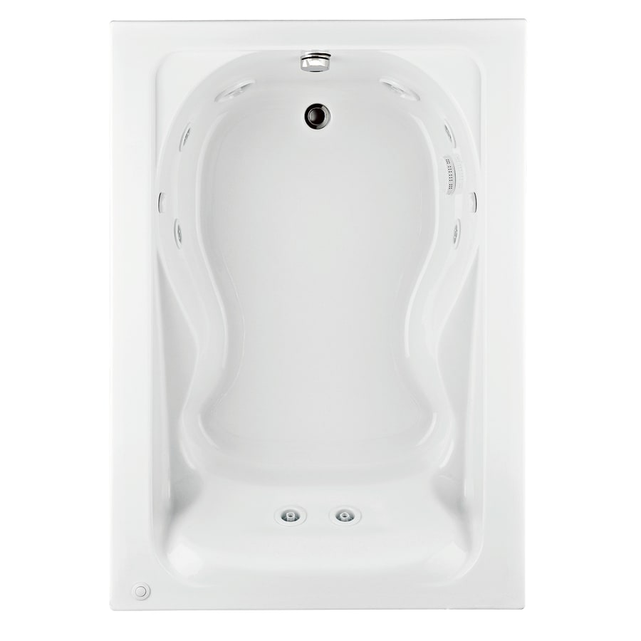 American Standard Cadet 60-in White Acrylic Drop-In Whirlpool Tub with Reversible Drain