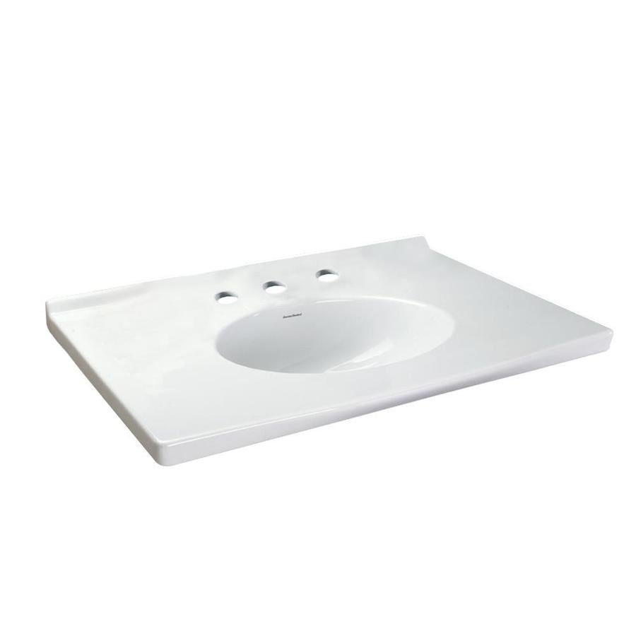 American Standard Portsmouth White Natural Marble Integral Bathroom Vanity Top (Common: 31-in x 22-in; Actual: 31.125-in x 22.875-in)