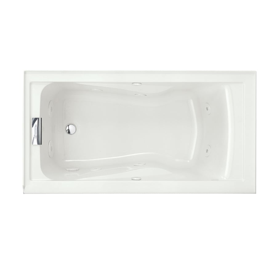 American Standard Evolution 60-in White Acrylic Alcove Whirlpool Tub with Left-Hand Drain