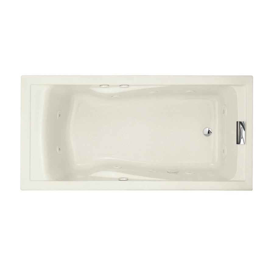 American Standard Evolution 72-in Linen Acrylic Drop-In Whirlpool Tub with Reversible Drain