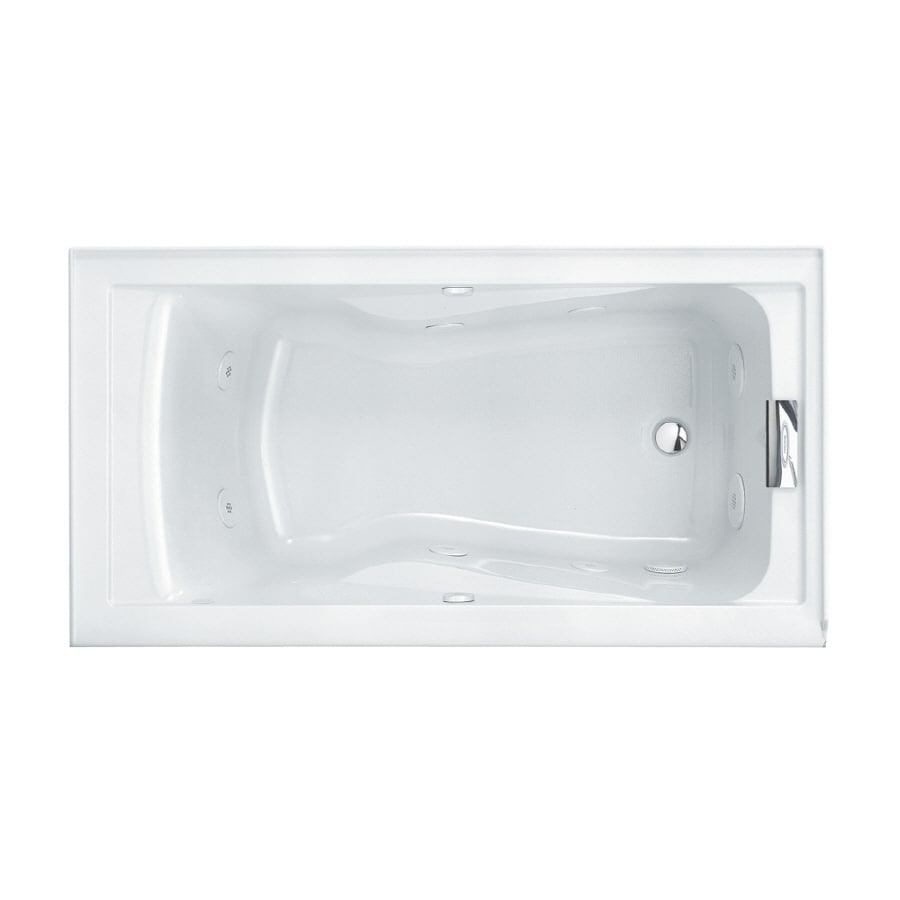 American Standard Evolution 60-in Arctic Acrylic Drop-In Whirlpool Tub with Reversible Drain