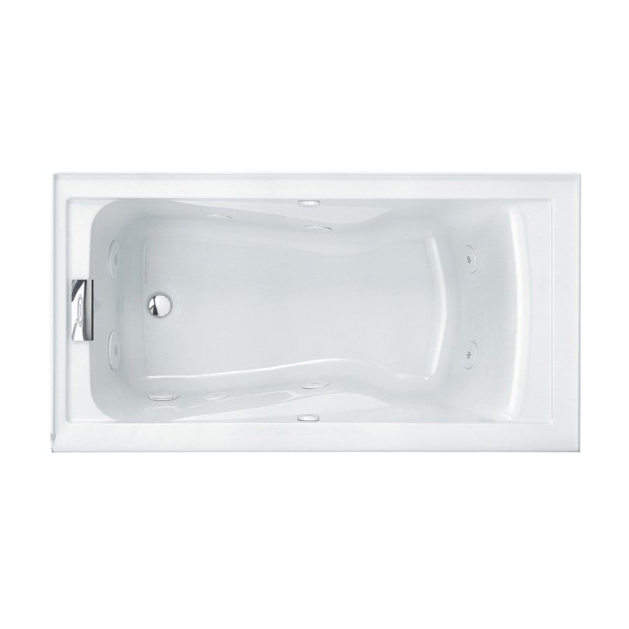 American Standard Evolution 60-in Arctic Acrylic Alcove Whirlpool Tub with Left-Hand Drain