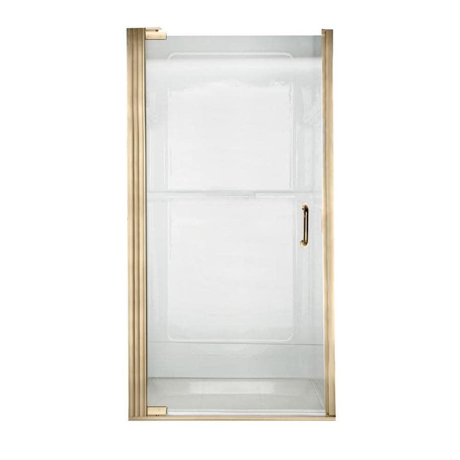 American Standard 32.6875-in to 33.5625-in Polished Brass Frameless Pivot Shower Door