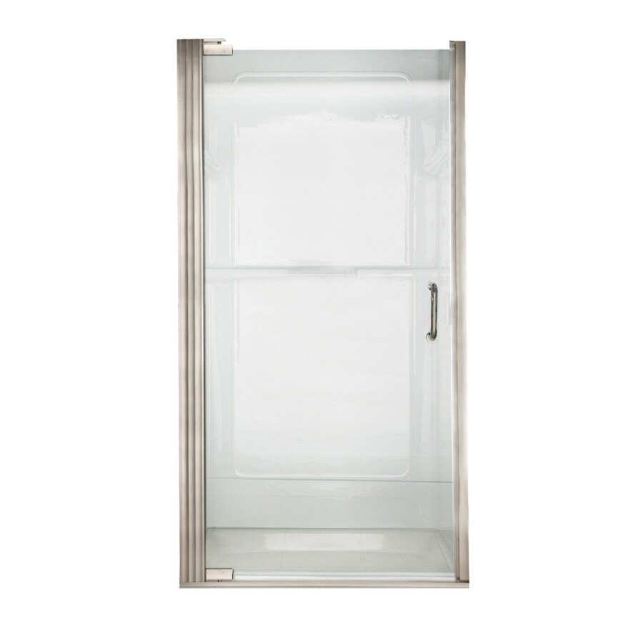 American Standard Euro 32.6875-in to 33.5625-in Polished Nickel Frameless Pivot Shower Door