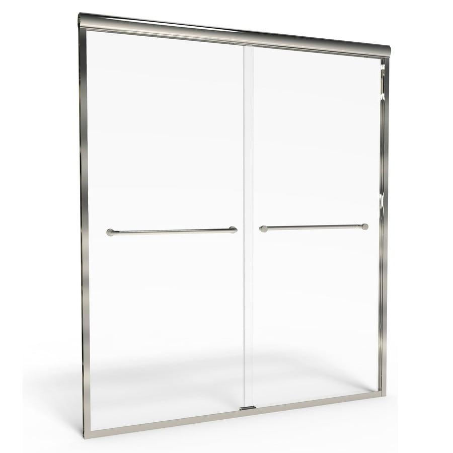 American Standard Euro 40-in to 44-in W x 65.5-in H Brushed Nickel Sliding Shower Door