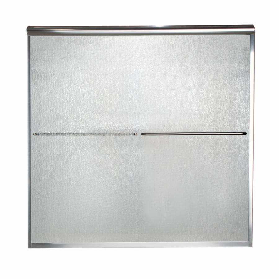 American Standard Euro 60-in W x 57-in H Silver Frameless Bathtub Door