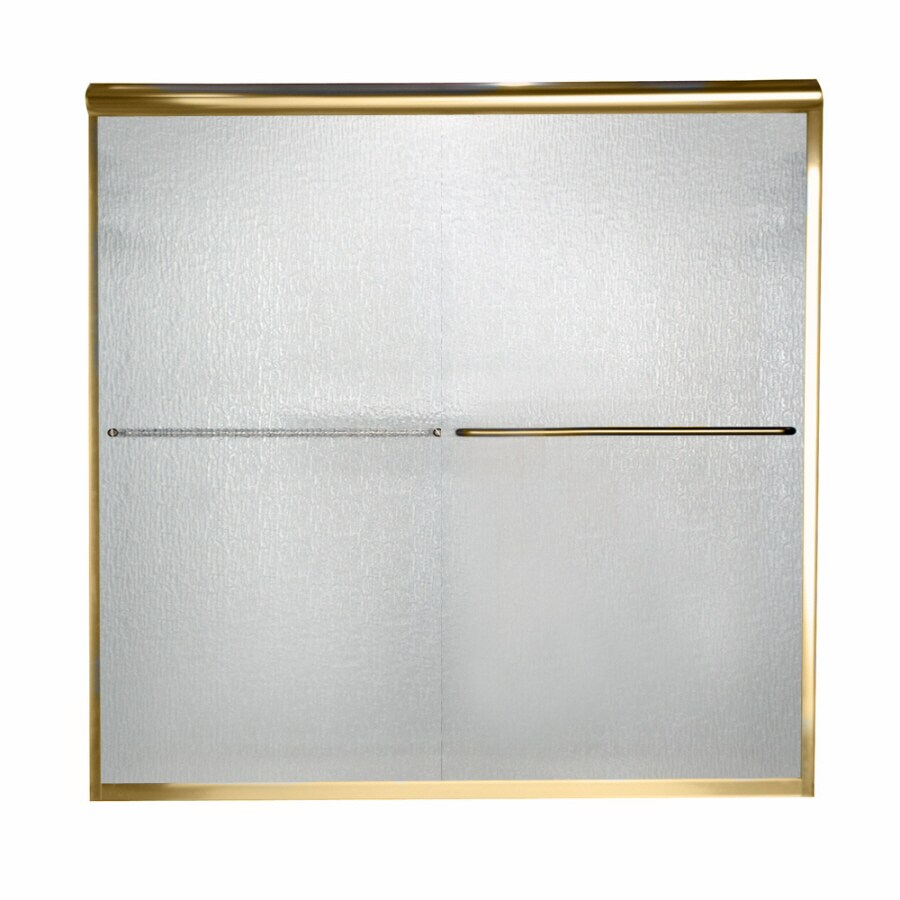 American Standard Euro 60-in W x 57-in H Polished Chrome Frameless Bathtub Door