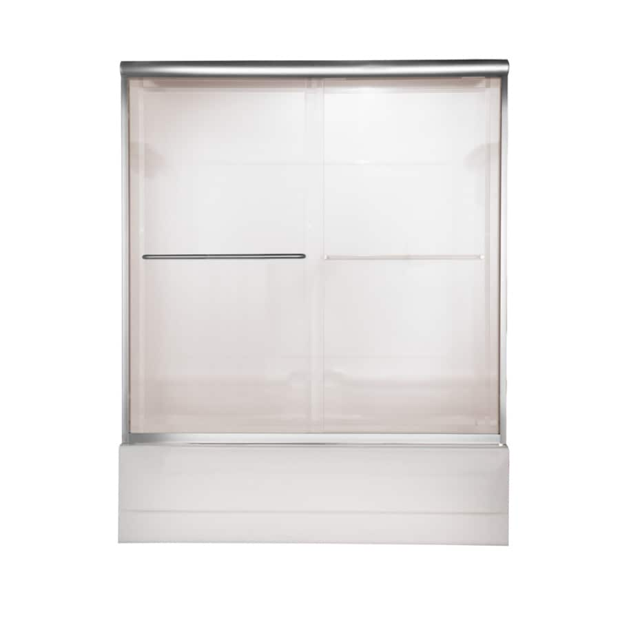 American Standard Euro 60-in W x 57-in H Silver Frameless Bathtub Door