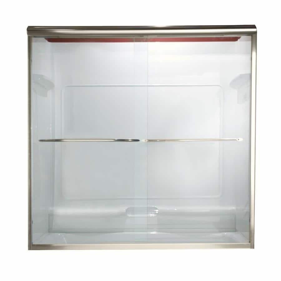 American Standard Euro 60-in W x 57-in H Brushed Nickel Frameless Bathtub Door