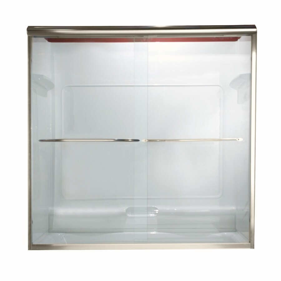 American Standard Euro 60-in W x 57-in H Matte Nickel Frameless Bathtub Door