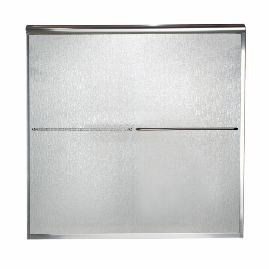 American Standard Euro 56-in to 60-in W x 70-in H Silver Sliding Shower Door