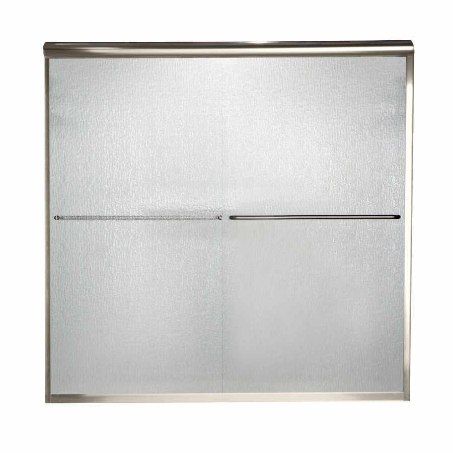American Standard Euro 56-in to 60-in W x 70-in H Brushed Nickel Sliding Shower Door