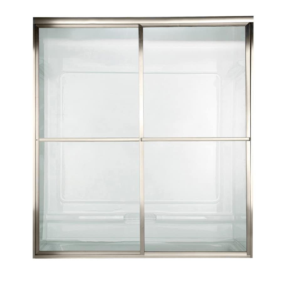 American Standard Prestige 52-in to 54-in W x 68-in H Polished Nickel Sliding Shower Door