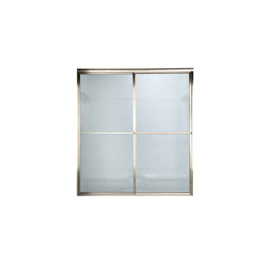 American Standard Prestige 52-in to 54-in W x 68-in H Polished Nickel Sliding Shower Door