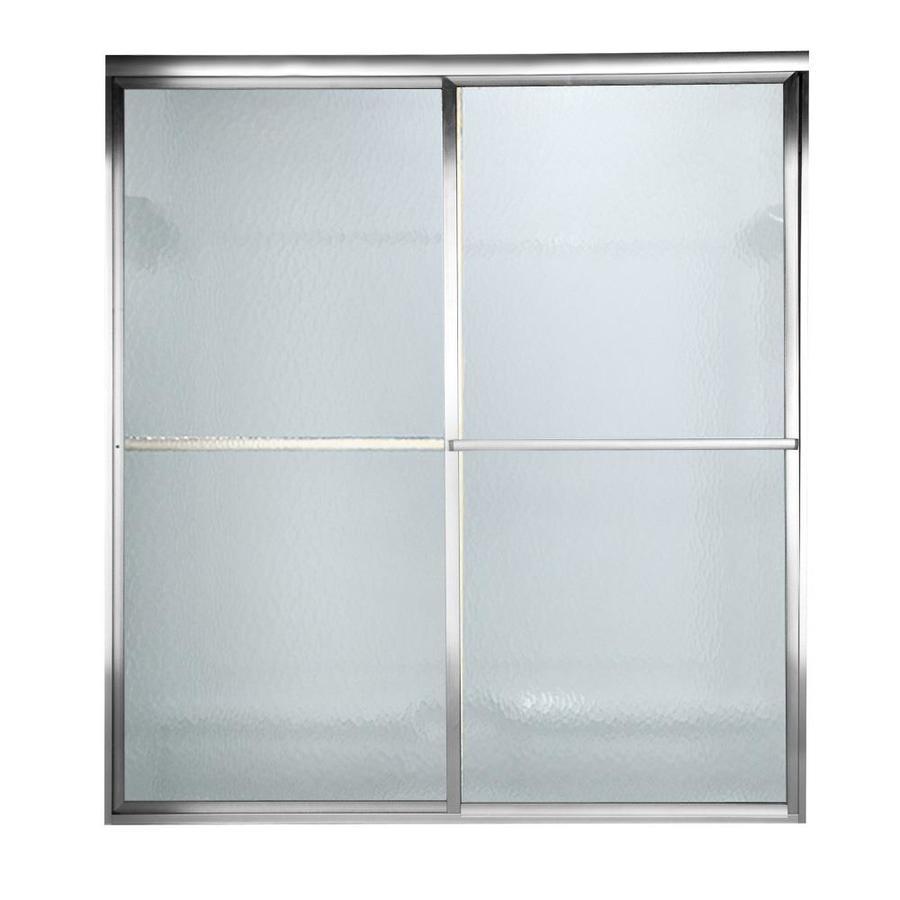 American Standard Prestige 72-in W x 58.5-in H Silver Bathtub Door