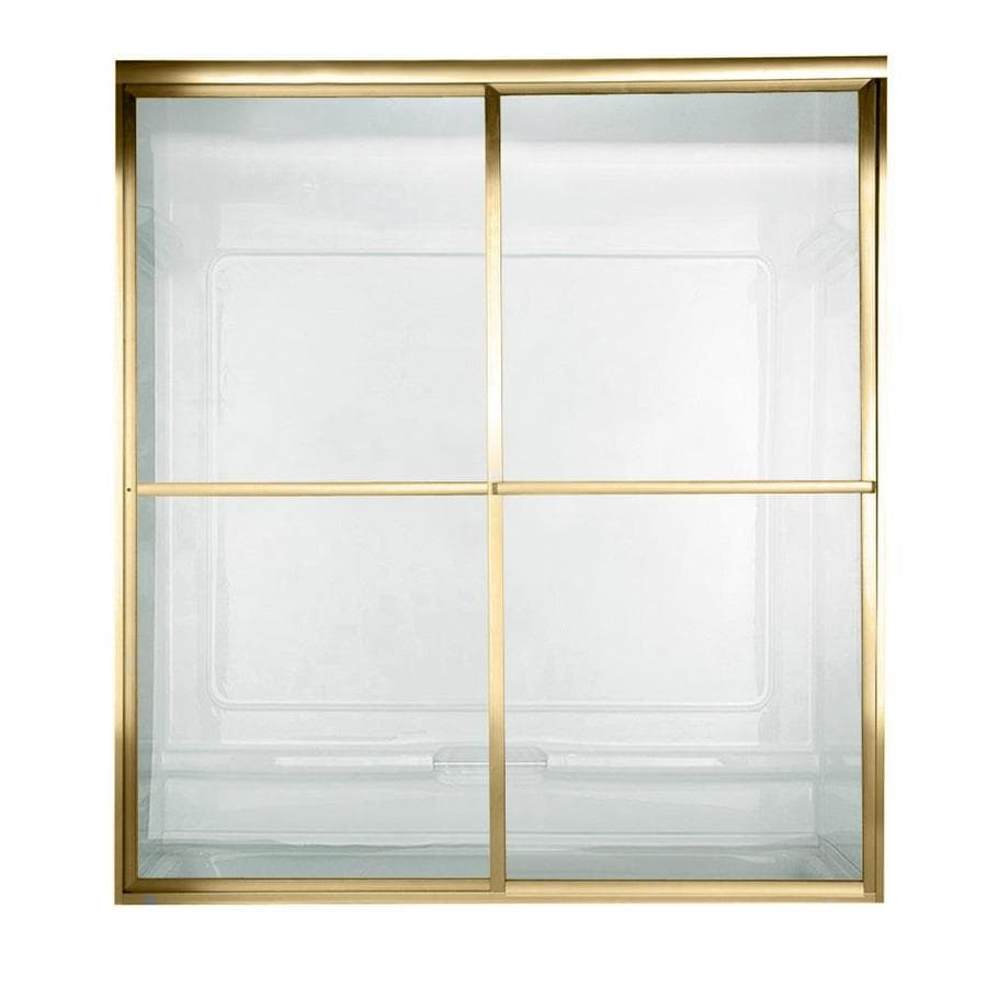 American Standard Prestige 46-in to 48-in W x 68-in H Polished Brass Sliding Shower Door