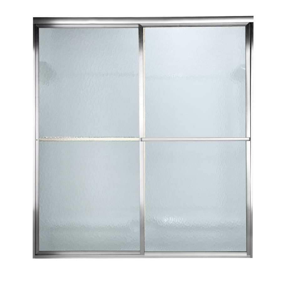 American Standard Prestige 56-in to 60-in W x 71.5-in H Silver Sliding Shower Door