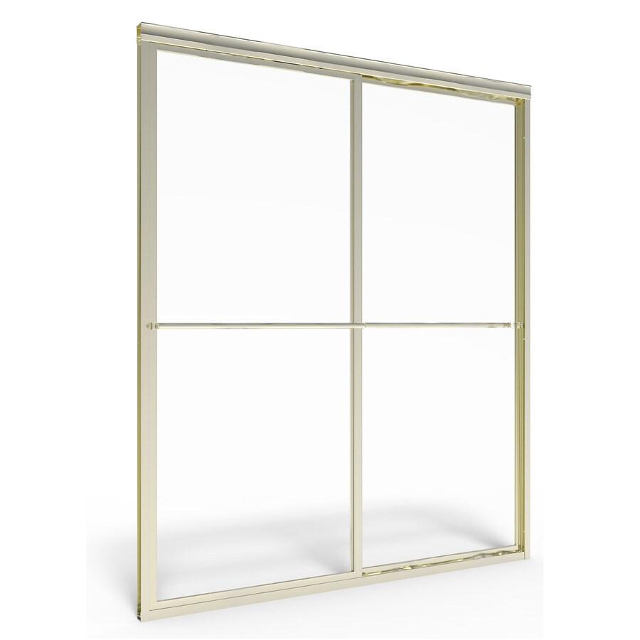 American Standard Prestige 56-in to 60-in W x 68-in H Brushed Nickel Sliding Shower Door