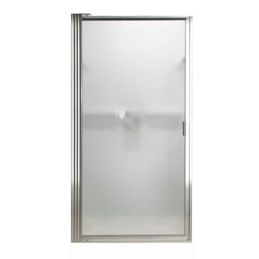 American Standard 24-1/4-in to 26-in Silver Framed Pivot Shower Door