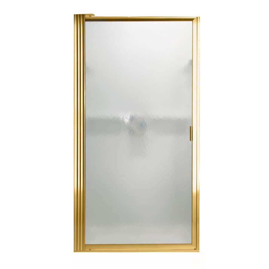 American Standard 33.125-in to 34.875-in Polished Brass Pivot Shower Door