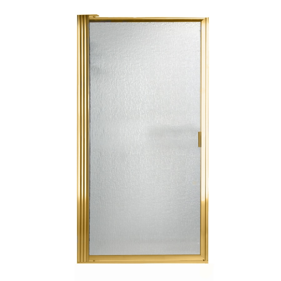 American Standard 31.125-in to 32.875-in Polished Brass Pivot Shower Door