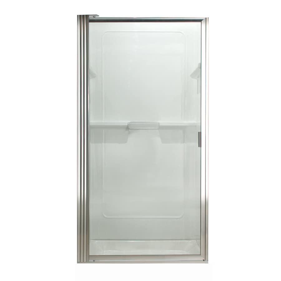 American Standard 31-1/8-in to 32-7/8-in Silver Framed Pivot Shower Door