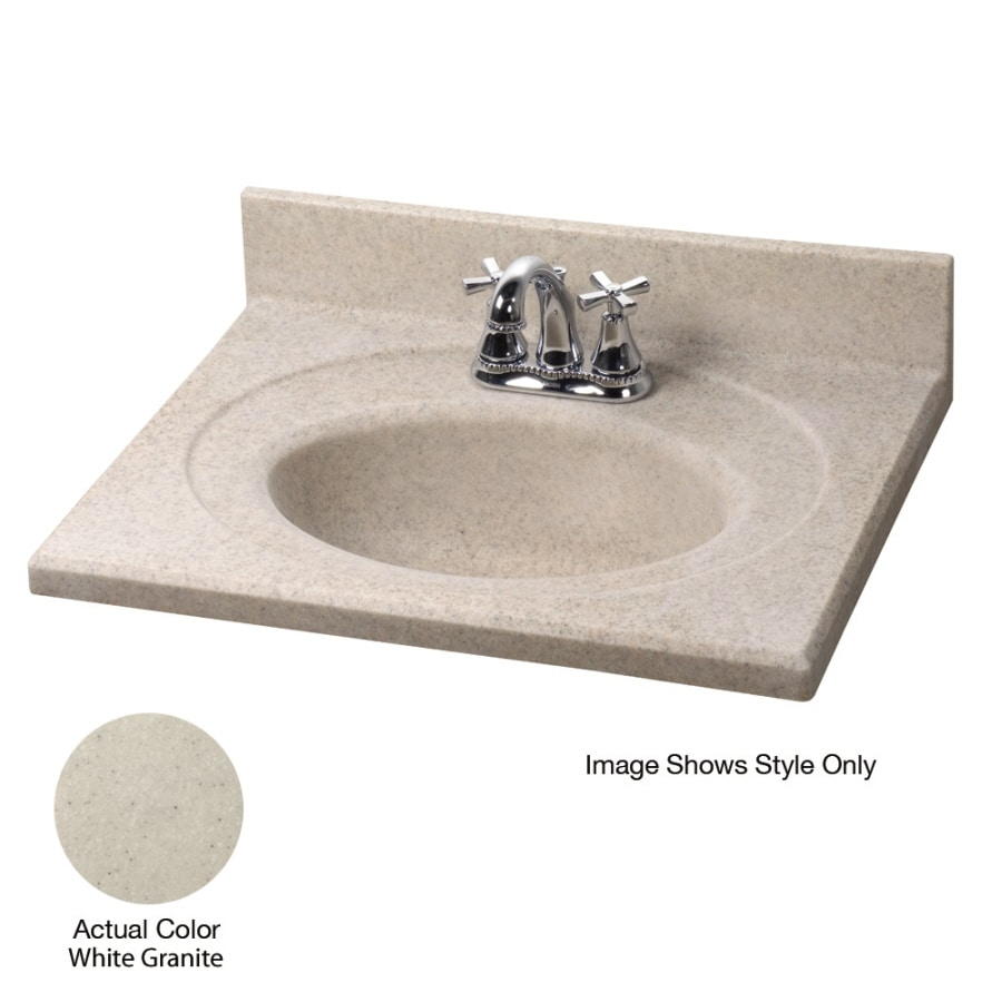 Shop American Standard Silkstone 25 In W X 19 In D White Granite Satin Cultured Marble Integral