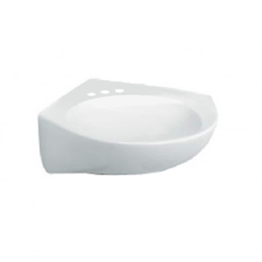 American Standard White Wall-Mount Square Bathroom Sink with Overflow