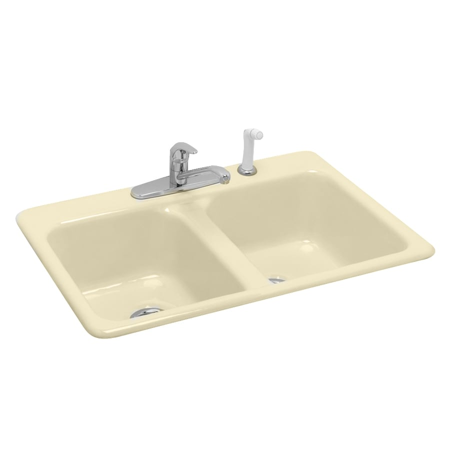 american standard bisque doublebasin cast iron topmount kitchen sink - Cast Iron Kitchen Sinks