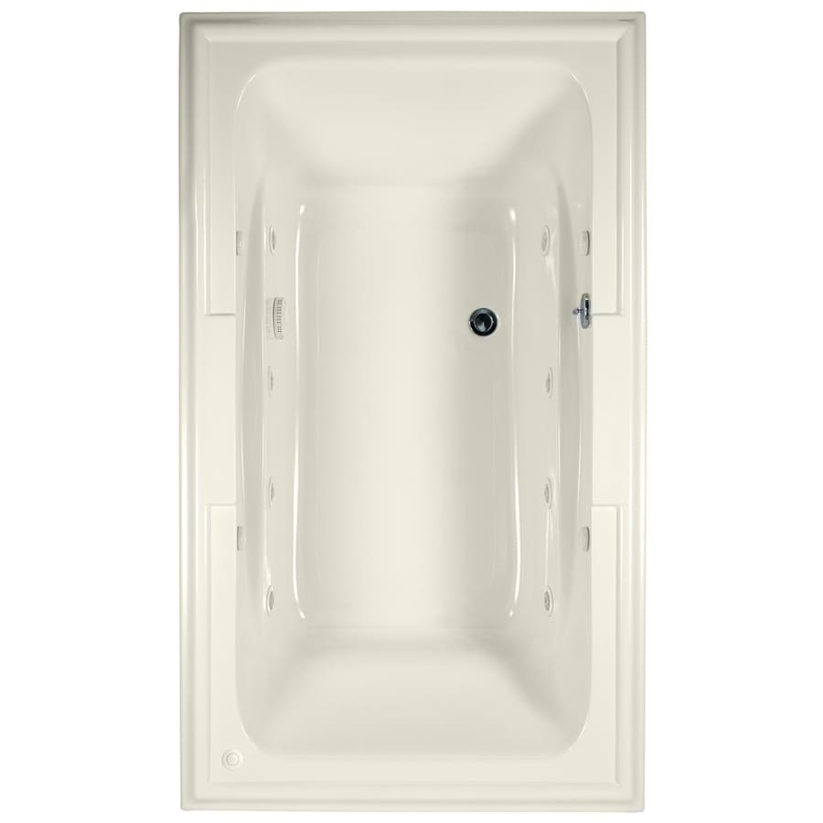 American Standard Town Square 72-in Linen Acrylic Drop-In Whirlpool Tub with Center Drain