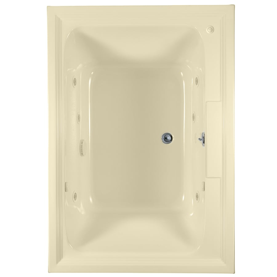 American Standard Town Square 60-in Linen Acrylic Drop-In Whirlpool Tub with Center Drain
