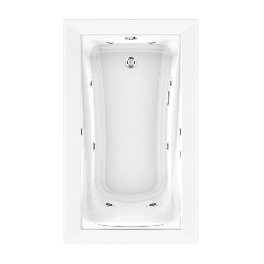 American Standard Green Tea 60-in Arctic Acrylic Drop-In Whirlpool Tub with Reversible Drain