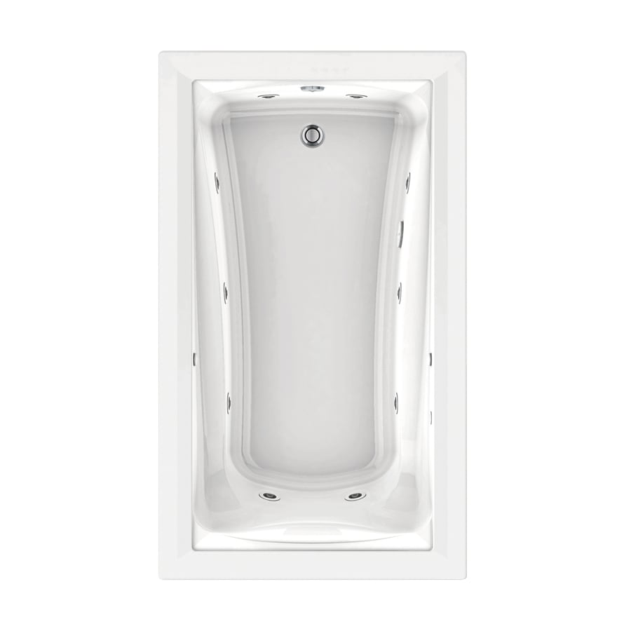 American Standard Green Tea 72-in White Acrylic Drop-In Whirlpool Tub with Reversible Drain