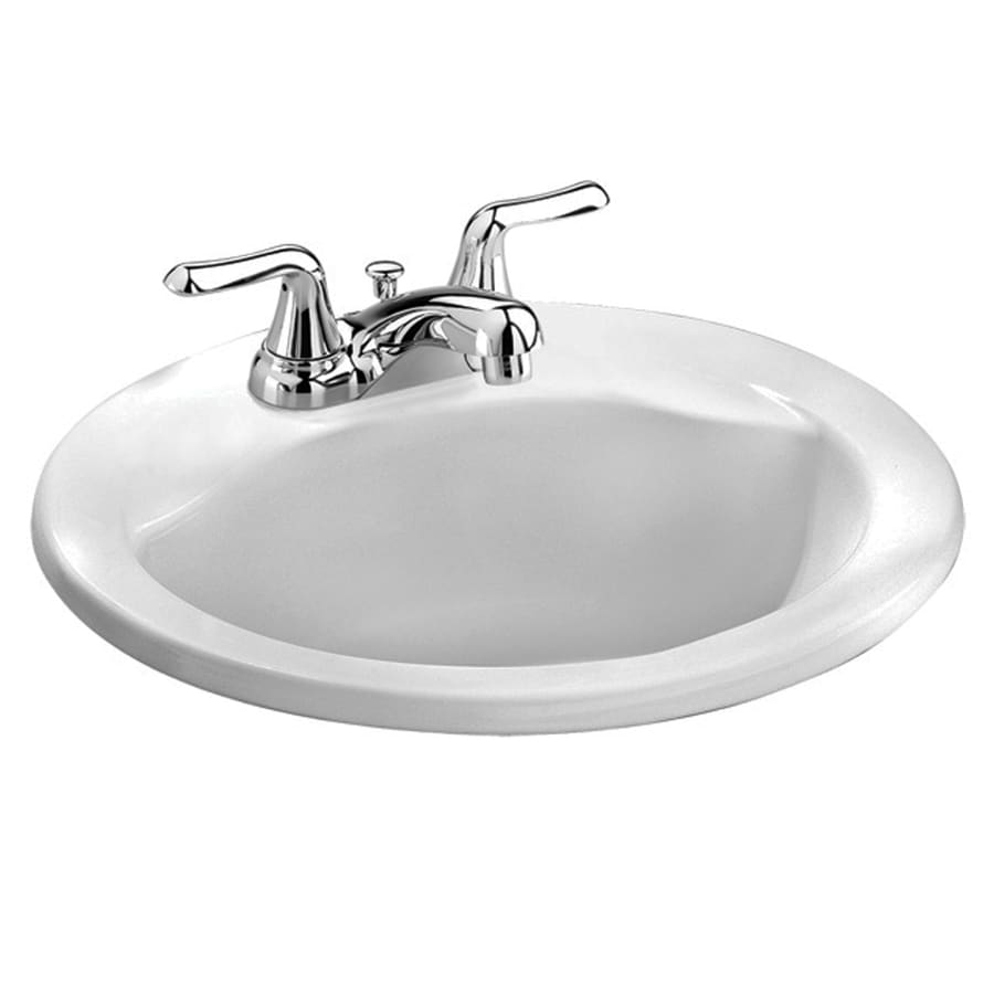 American Standard Clean White Drop-In Oval Bathroom Sink with Overflow (Drain Included)