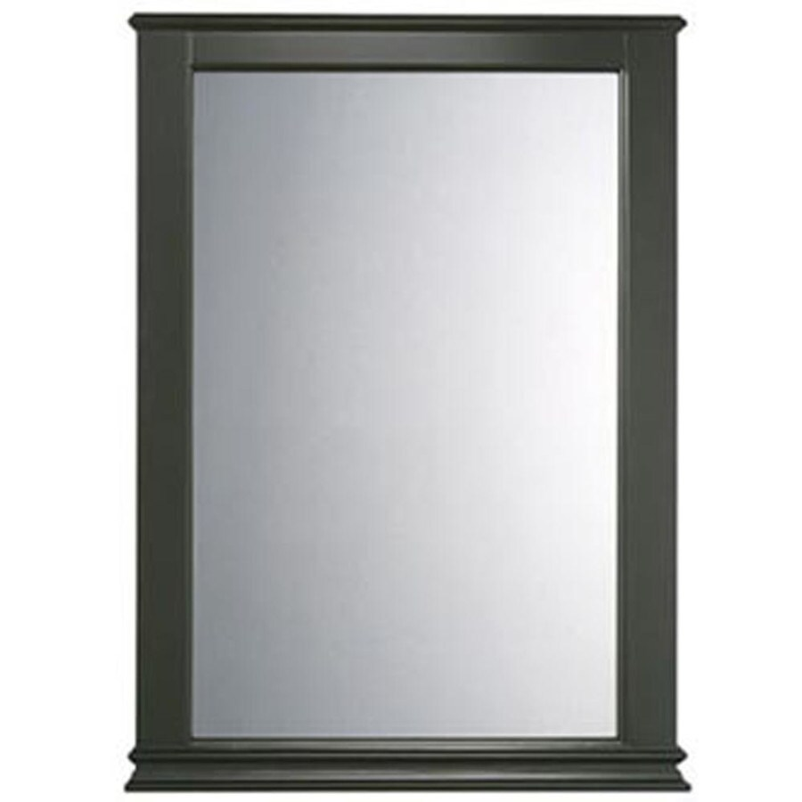 American Standard Portsmouth 25-in x 34.375-in Dark Chocolate Rectangular Framed Bathroom Mirror