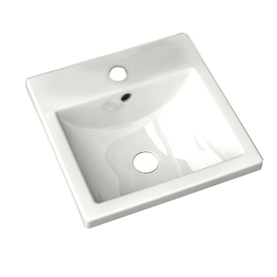 American Standard Studio Carre White Vessel Rectangular Bathroom Sink with Overflow