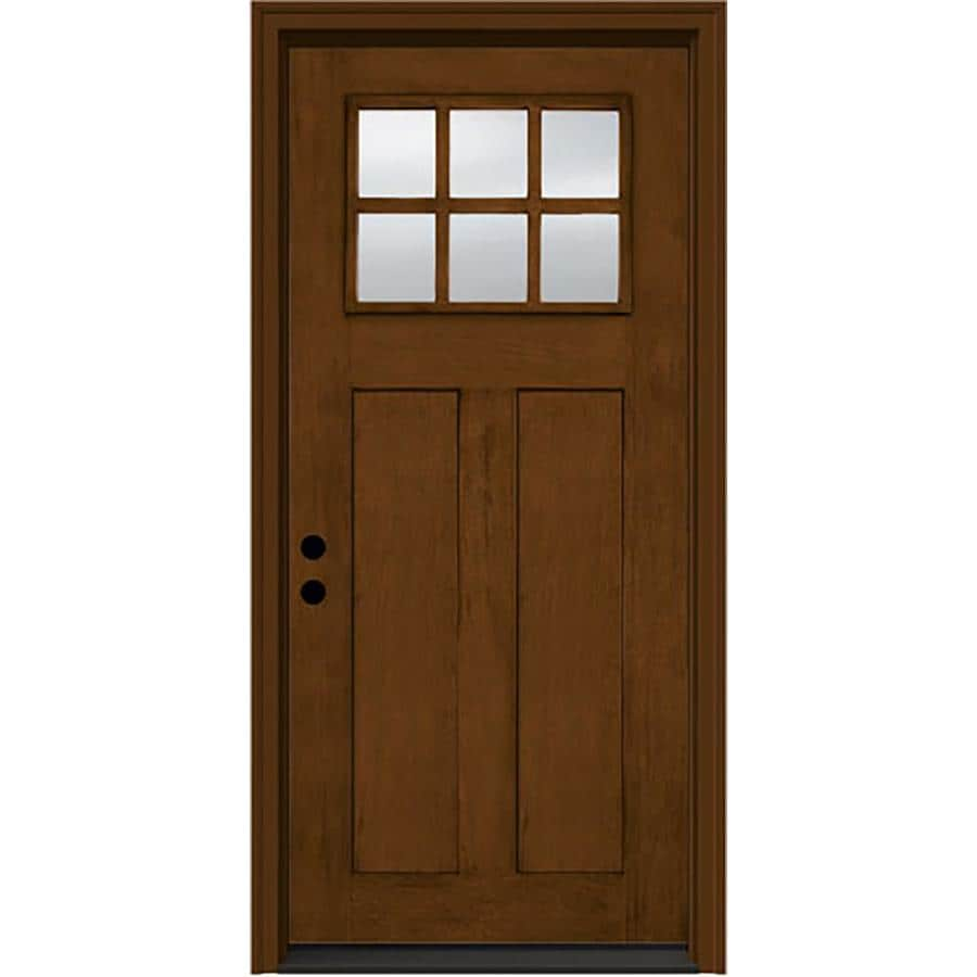 JELD-WEN Aurora 2-Panel Insulating Core Craftsman 6-Lite Right-Hand Inswing Cashmere Fiberglass Stained Prehung Entry Door (Common: 36-in x 80-in; Actual: 37.5-in x 81.75-in)