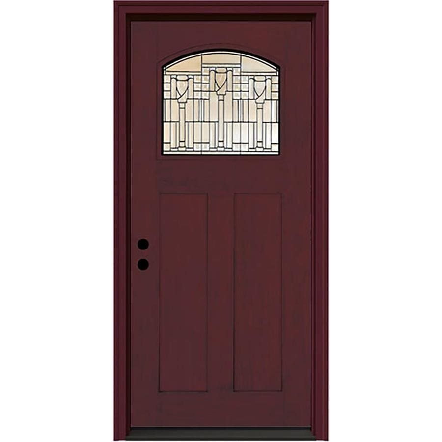 JELD-WEN Craftsman Decorative Glass Right-Hand Inswing Sequoia Fiberglass Stained Entry Door (Common: 36-in x 80-in; Actual: 37.5-in x 81.75-in)