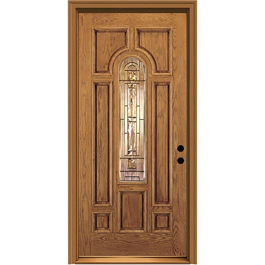 JELD-WEN Aurora 8-Panel Insulating Core Center Arch Lite Left-Hand Inswing Honey Fiberglass Stained Prehung Entry Door (Common: 36-in x 80-in; Actual: 37.5-in x 81.75-in)