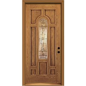Nice JELD WEN Aurora Decorative Glass Honey Stained Fiberglass Prehung Entry Door  With Insulating Core (
