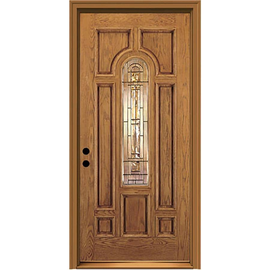 JELD-WEN Aurora Center Arch Lite Decorative Glass Right-Hand Inswing Honey Stained Fiberglass Prehung Entry Door with Insulating Core (Common: 36-in X 80-in; Actual: 37.5-in x 81.75-in)